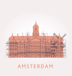 outline amsterdam skyline with landmarks vector image