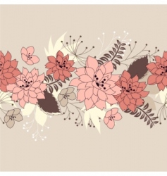 seamless horizontal floral pink pattern vector image vector image