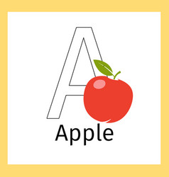 apple and letter a coloring page vector image vector image