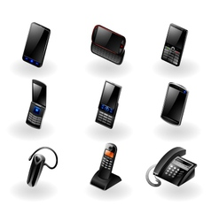 Electronics icon set - Phones and communication vector image vector image