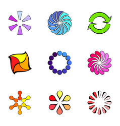 round figures icons set cartoon style vector image vector image