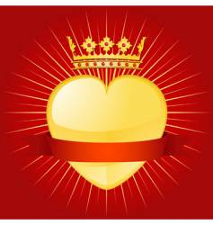 valentine crown and banner vector image vector image