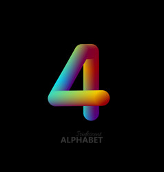 3d iridescent gradient number 4 vector image