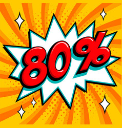 80 eighty percent off sale banner red number on vector image