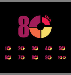 80 year anniversary set template design vector