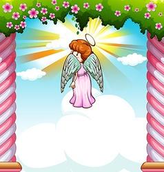 Angel with wings flying in garden vector