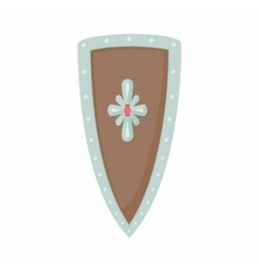 Angled shield with ornaments icon cartoon style vector