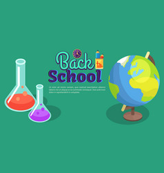 back to school poster with scientific equipment vector image