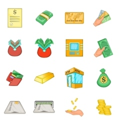 Bank loan credit icons set cartoon style vector