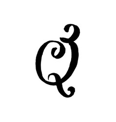 Beautiful hand written capital q letter with curls vector