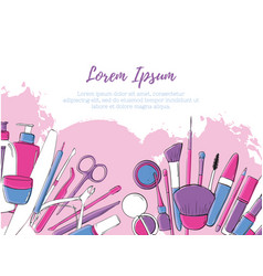 beauty salon and make up banner layout pink vector image