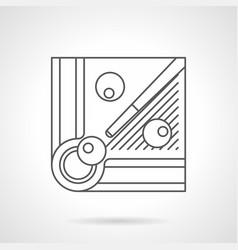 billiard balls and cue flat line icon vector image