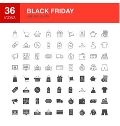 Black friday line web glyph icons vector