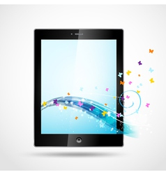 black tablet with butterflies vector image