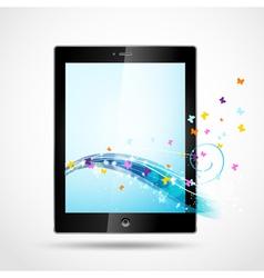 Black tablet with butterflies vector