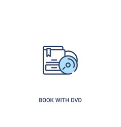 Book with dvd concept 2 colored icon simple line vector