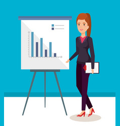 businesswoman with paperboard training avatar vector image