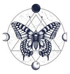 Butterflymoon phasestattoo and t-shirt design vector