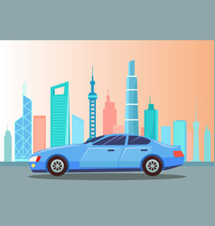 Car at street city cityscape with buildings vector