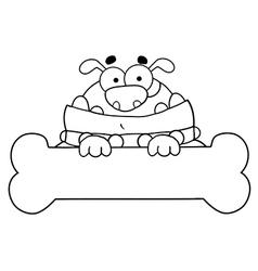 Cartoon dog with bone vector