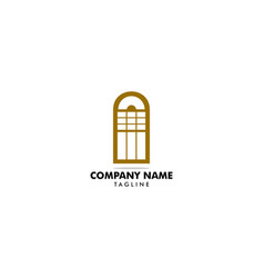 classic arched window icon logo template vector image