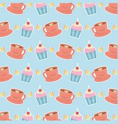 Coffee and cupcake kawaii characters pattern vector