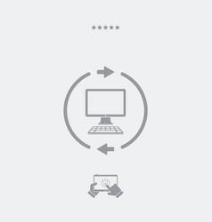 Computer synchronization flat icon vector