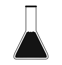 Conical flask test tube with oil icon vector image