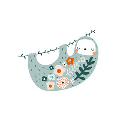 cute floral sloth print perfect for t-shirt vector image