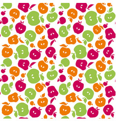 cute simple flat apple fruit seamless pattern for vector image