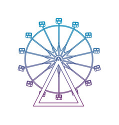 Degraded line ferris wheel mechanical carnival vector