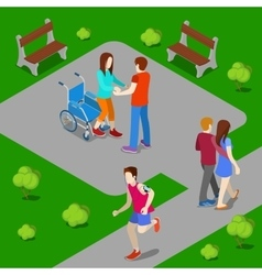 Disabled woman on wheelchair isometric people vector