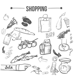 doodle shopping stylish set EPS10 vector image