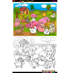 Farm animals characters group color book page vector