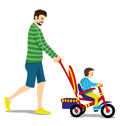 Father and child on a tricycle vector