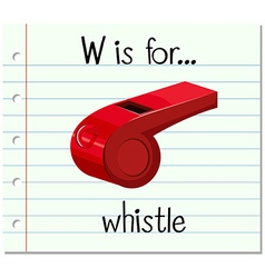 Flashcard letter W is for whistle vector