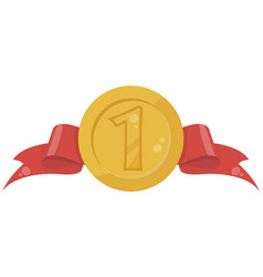 Gold medal in flat vector