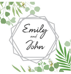 greenery card with foliage template vector image