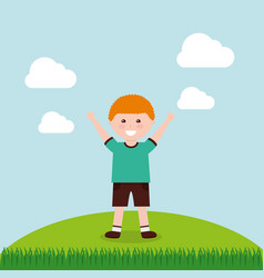 happy cartoon boy raising hands vector image vector image