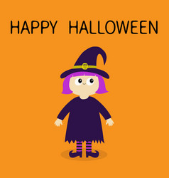happy halloween girl wearing witch costume curl vector image