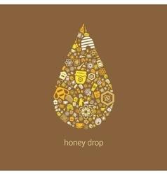 Honey icons in drop vector