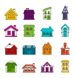 house icons doodle set vector image