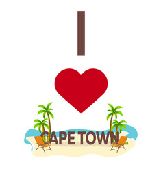 I love cape town travel palm summer lounge vector