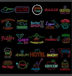 Icons of neon store signs vector