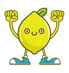 kawaii smiling lemon fruit with sneakers cartoon vector image