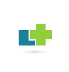 letter l cross plus medical logo icon design vector image