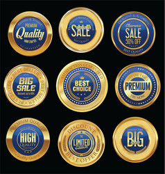 Luxury golden retro badges collection 07 vector