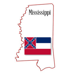mississippi state map and flag vector image