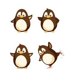 north pole funny penguins having fun together vector image