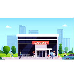 People going to supermarket mall street food vector